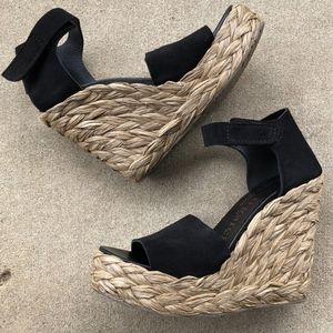 Pedro Garcia Tage Raffie Wedge Platform Sandals